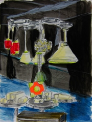 Design Icons 20th C Design Furniture Fair, Lamp Display Stand, 2012. Ink, marker & highlighter on paper (32x24cm)