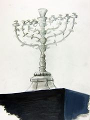 Jodendom Exhibition, Hanukka Candelabrum, Central Europe 1750-1800, 2012. Pencil & water-based oil on paper (32x24cm)