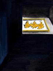Jodendom Exhibition, Dead Sea Scroll, Schatskamer, Nieuwe Kerk v2, 2012. Ink, coloured pencil & water-based oil on paper (32x24cm)