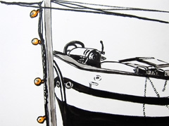 Boat View From Terrace Entrepotdok, 2010. Ink on paper (24 x 32 cm)