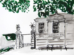 Entrance Gates De Hortus Botanicus, 2010. Ink on paper (24 x 32 cm)