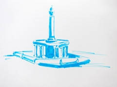 Fountain Wertheim Park, 2010. Ink on paper (24 x 32 cm)