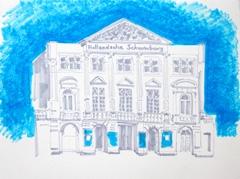Hollandse Schouwburg Streetview, 2010. Ink on paper (24 x 32 cm)