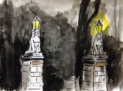 Lampposts Entrance Wertheim Park, 2010. Ink on paper (24 x 32 cm)