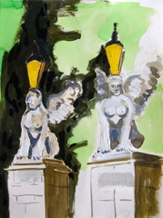 Lampposts Sphinxes Wertheim Park, 2010. Ink on paper (24 x 32 cm)