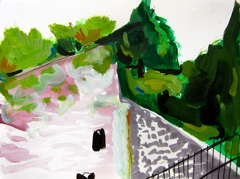View From Hortus Brug, 2010. Ink on paper (24 x 32 cm)