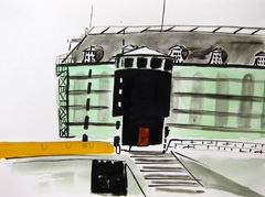 View Of Scheepvaart Museum (Maritime Museum) Under Construction, 2010. Ink on paper (24 x 32 cm)