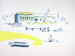 Strand Paviljoens Zandvoortaanzee, 2011. Ink, highlighter & collage on paper (24 x 32cm)