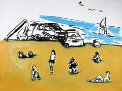 Strand v2 zandvoortaanzee, 2011. Ink & water soluble oil on paper (24 x 32cm)