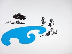 Strand zandvoortaanzee, 2011. Ink & collage on paper (24 x 32cm)