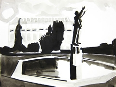 Gustav Holst Memorial Fountain, Imperial Gardens, Cheltenham, 2010. Ink on paper (24 x 32cm)