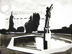 Gustav Holst Memorial Fountain, Imperial Gardens, Cheltenham, 2010. Ink on paper (24 x 32cm)