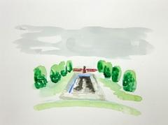 Sandford Park, Cheltenham V2, 2010. Ink on paper (24 x 32cm)