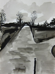 Broad Walk, Montpellier Gardens, Cheltenham, 2010. Ink on paper (32 x 24cm)