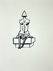 Second Girl Sitting on Bench by Lynn Chadwick (1988), 2010. Ink on paper (32 x 24cm)