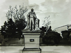 Statue of William IV, Montpellier Gardens, Cheltenham, 2010. Ink on paper (24 x 32cm)
