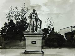Statue of William IV, Montpellier Gardens, Cheltenham, 2010. Ink on paper (24 x 32cm)