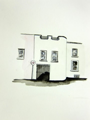 Saint Luke's Road, Cheltenham, 2010. Ink, pencil and watercolour on paper (24 x 32cm)