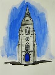 St Luke & St John C Of E Church, Cheltenham, 2010. Ink and water soluble oil on paper (32 x 24 cm)