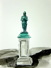South Africa 1899 to 1902 Boer War Memorial, Long Garden, Municipal Offices, Cheltenham, 2010. Ink on paper (32 x 24 cm)