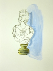Bust in Lobby, Queen's Hotel, Cheltenham, 2010. Marker, water soluble oil and ink on paper (32 x 24 cm)