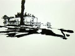 College Road, Sandford Park, Cheltenham, 2010. Ink on paper (24 x 32cm)