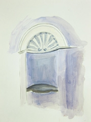 Original Entrance to Bathhouse, Playhouse Theatre, Cheltenham, 2010. Water soluble oil and ink on paper (24 x 32 cm)