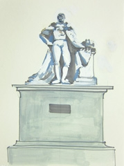 Statue of William IV V2, Montpellier Gardens V2, Cheltenham, 2010. Ink on paper (24 x 32cm)