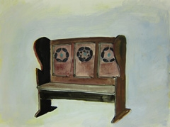 Bench, Charles Rennie Mackintosh, Cheltenham Art Gallery & Museum, 2010. Marker, watercolour and water soluble oil on paper (32 x 24cm)