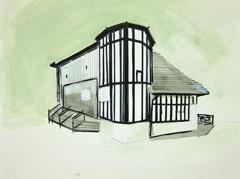 The Gardens Gallery, Montpellier Gardens, Cheltenham, 2010. Ink, water soluble oil, graphite on paper (24 x 32cm)