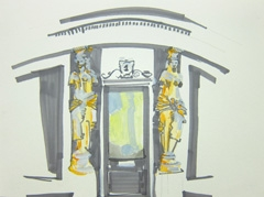 Caryatids, Montpellier Walk, Cheltenham, 2010. Marker, water soluble oil on paper (24 x 32cm)