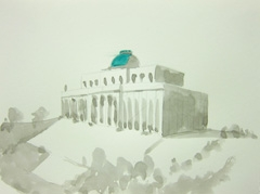 Pitville Pump Room, Pitville Park, Cheltenham, 2010. Ink and water soluble oil on paper (24 x 32 cm)