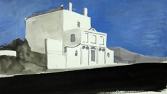 House on Montpellier Spa Road, Cheltenham, 2010. Ink and water soluble oil on paper (18 x 32 cm)