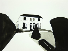 House on Evesham Road, Cheltenham, 2010 ink on paper (24 x 32cm)