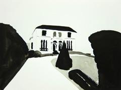 House on Evesham Road, Cheltenham, 2010 ink on paper (24 x 32cm)