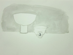 Pottery, Cheltenham Art Gallery & Museum, 2010. Ink on paper (24 x 32cm)