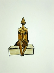 Second Girl Sitting on Bench by Lynn Chadwick (1988) V2, 2010. Ink and watercolour on paper (32 x 24cm)