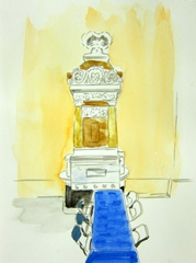 Pump, Pitville Pump Room, Cheltenham, 2010. Ink and water soluble oil on paper (32 x 24 cm)