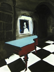 Piano in Lobby, Queen's Hotel, Cheltenham, 2010. Ink and water soluble oil on paper (32 x 24 cm)