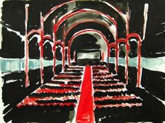 Playhouse Theatre, Cheltenham, 2010. Ink, watercolour on paper (24 x 32 cm)