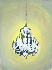 Chandelier, Pitville Pump Room, Cheltenham, 2010. Ink and water soluble oil on paper (32 x 24 cm)