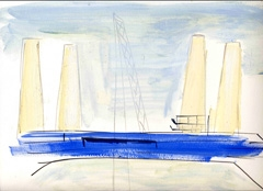 Power Station view from Battersea Park V2, 2008. Ink and water soluble oil on paper (24 x 32cm)