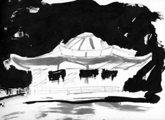 The Dell, Serpentine, Hyde Park, London, 2008. Ink on paper (24 x 32cm)