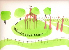 Russell Page Garden, Battersea Park, 2008. Ink and water based oil on paper (24 x 32 cm)