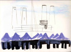 Power Station view from Battersea Park, 2008. Ink and water soluble oil on paper (24 x 32cm)