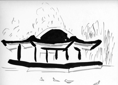 The Dell, Serpentine, Hyde Park, London V3, 2008. Ink and marker on paper (24 x 32cm)