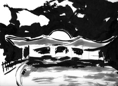 The Dell, Serpentine, Hyde Park, London V4, 2008. Ink and marker on paper (24 x 32cm)