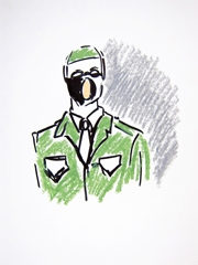 War and Medicine, Wellcome Collection, 2011. Ink & oil pastel on paper (32 x 24cm)