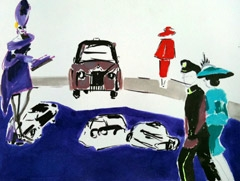 Guests Arriving, Royal Wedding, 2011. Ink, marker, oil on paper (24 x 32cm)