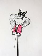 Cat Angel Sculpture, Open Ateliers Plantage Weesperbuurt, 2010. Ink and highlighter on paper (32 x 24cm)
